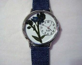 Women's Watch, Wrist Watch for Women, Forget Me Not Watch, Pressed Flower Watch, Women's Wrist Watch,Retirement Gift,Watch,Farewell Gift