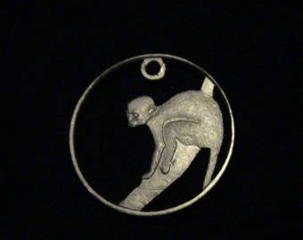GUYANA - cut coin pendant -  Spider Monkey - 1978