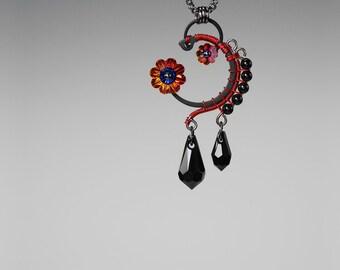 Volcano Swarovski Crystal Pendant, Industrial Jewelry, Black Pearls,Swarovski Necklace, Black Swarovski Crystal, Space Jewelry, Venus v7