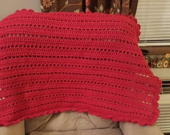 Handmade Crocheted Red Lapghan