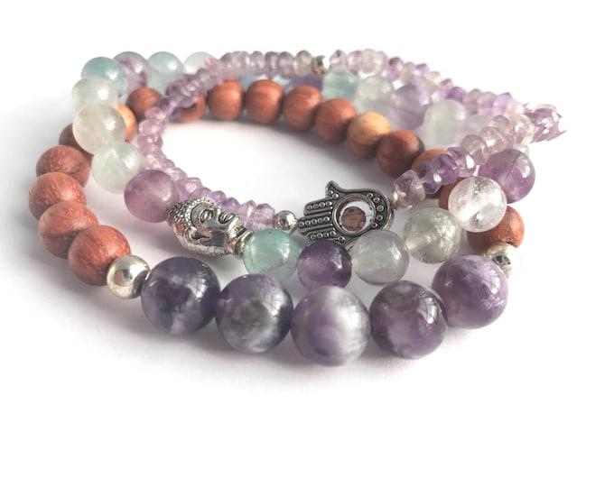 yoga bracelet purple and aqua stack flourite amethyst gemstones, set of bracelets, purple bracelets, gemstone bracelets, yoga jewelry,