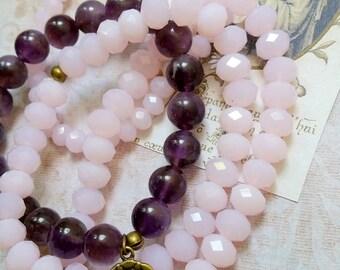 Multi layers amethyst, pink opalin bracelet