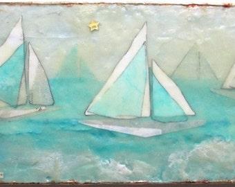 Encaustic art, sailboat art, ocean painting, motivational quotes, vignettes, home decor