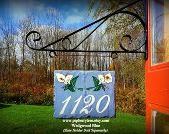 Calla Lily Hand Painted Decorative Address Slate Sign/Calla Lily Decorative Slate Sign/Street Address Decorative Slate sign