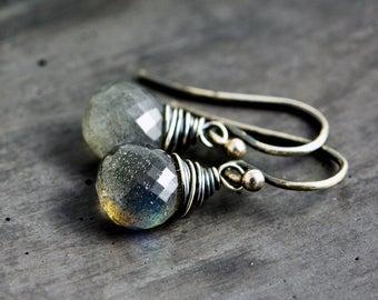 Labradorite Earrings, Drop Earrings, Dangle Earrings, Wire Wrapped, Sterling Silver, Gray Gemstones, Midnight Gray, Labradorite Jewelry