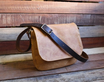 small leather messenger bag - small leather bag - leather satchel - leather crossbody - free shipping - leather bags women
