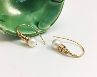 Gold Filled and Freshwater Pearl Wire WrappedThreader Earrings (E444GF) - handcrafted wire jewelry by cristysjewelry on etsy