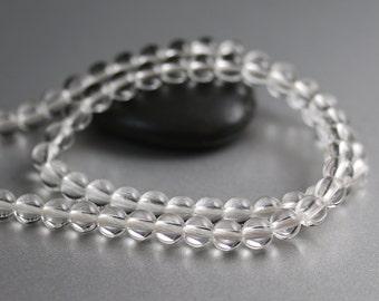 Quartz Crystal Beads - Rounds - Quartz Beads - 6 mm Strand
