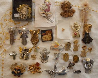 Lot brooches angels cherubs cupid, vintage to more modern, over 25, variety