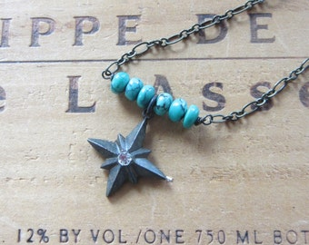 Sweet Petite Turquoise Bead & Brass Star Necklace Choker