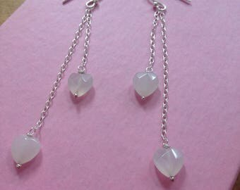 heart earrings, long earrings, white quartz hearts.