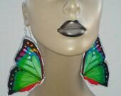 Attractive Multi Color Plastic Butterfly Earrings Embellished with Silver Glitter, Large Earrings, Women's Earrings, Fashion Earrings