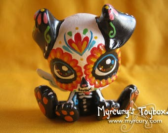 Puppy! Monster High Pet Repaint OoAK dog figurine with Sugar Skull Day of the Dead makeover! Beautiful Skull design with Flowers