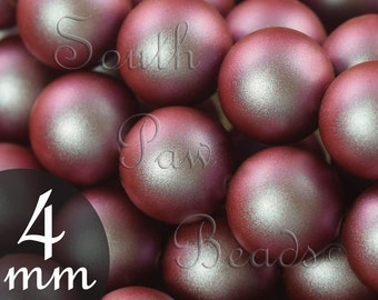4mm Iridescent Red swarovski pearl beads style 5810 (25)