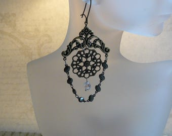 Chandelier Earrings, Handmade Earrings, Filigree Findings, Crystal Drop, Unique Handmade, Unique Gift Ideas, Mother's Day Gifts, For Mom