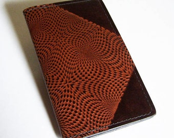 Leather Checkbook Cover with Op-Art Kaleidoscope Pattern