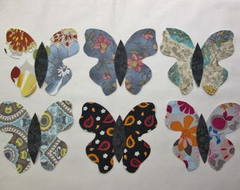 Set of 6 Lg Butterfly  Fusible Iron-on Cotton Fabric Appliques