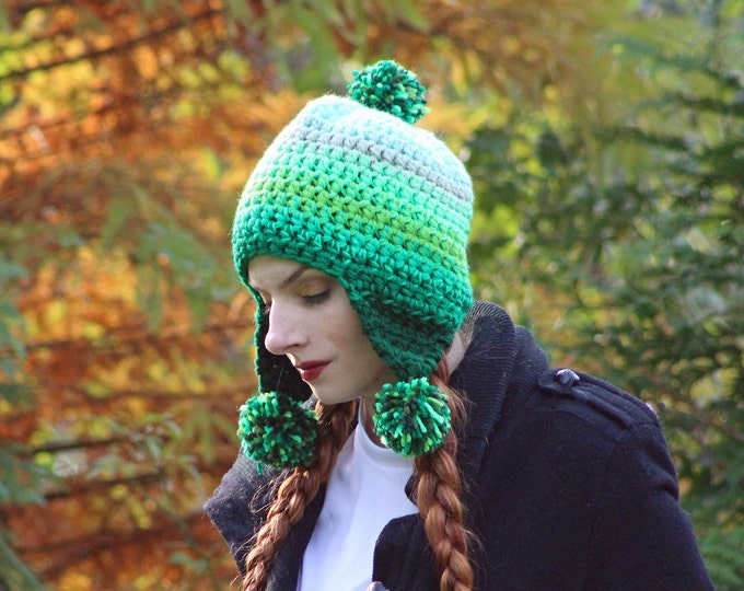 Green Ombre Elf Earflap Hat Pom Pom Beanie Hat Crochet Handmade Gift for Him or Her