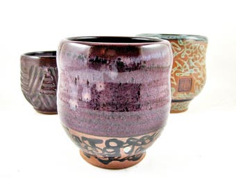 Yunomi, Tea Cup, handmade ceramic tea cup, pottery cup, ceramics and pottery, purple cup, chawan - In stock