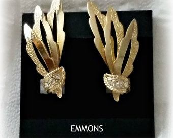 Vintage Emmons Earrings, signed gold tone wings, rhinestones, clip on, signed pre-Coventry vintage costume jewelry