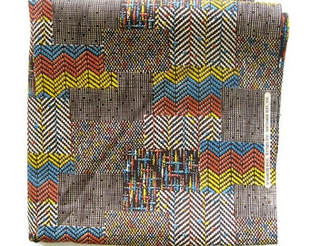 Vintage Cotton Fabric - Geometric Boho  Brown Orange Blue and Yellow - Chevron Pattern Cotton / Marcus Brothers