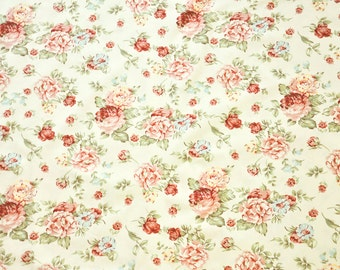 """Shabby Cabbage Rose 100% Cotton Fabric (country prints, retro, vintage) BTY x 45"""" wide"""