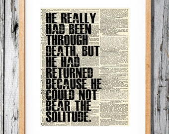 100 Years of Solitude Quote - Art Print on Vintage Antique Dictionary Paper