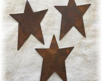 "Three (3) 5"" Primitive Rusty Tin Stars Craft Supplies Scrapbooking Embellishments Whimsical"