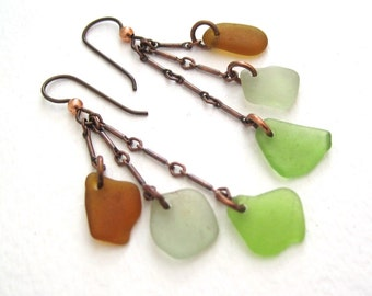 Triple Drop Dangle Sea Glass Earrings in Amber, Bright Green, and Seafoam Green with Oxidized Copper Findings
