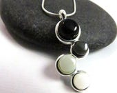 Petite Ombre Cascade Necklace - Silver and Glass - Fused Glass Necklace
