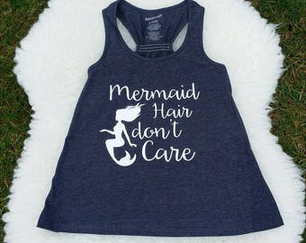 Mermaid Hair don't care - Womens Tank Top - Black/Gray Slub