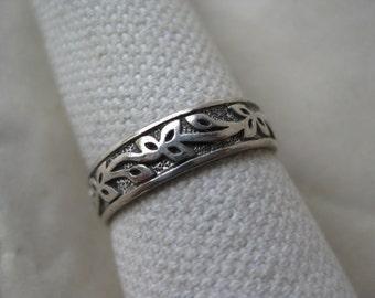 Vine Imagine Believe Receive Band Sterling Ring Vintage size 7 925 Silver LA