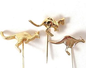 Vintage Trio of Goldtone Kangaroo Lapel Pins / Tie Tacks / Stick Pins