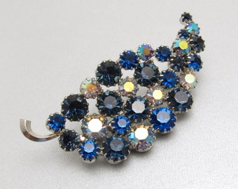 Vintage Blue Rhinestone Leaf Brooch Jewelry P7555