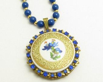 Vintage Rhinestone Locket Necklace Blue Beads N7647