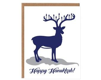 Reindeer Hanukkah Card