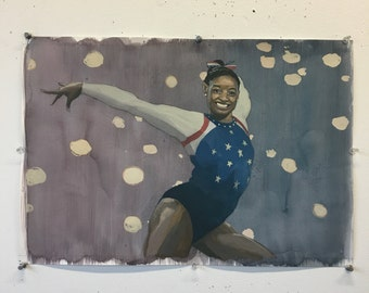 Simone Biles- Original Painting // published originally in The Washington Post