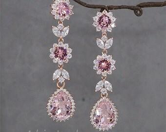 Blush crystal earrings,Swarovski Pink earrings,Pink wedding jewelry,Rose Gold earrings,rose gold blush earring,blush bridal earrings