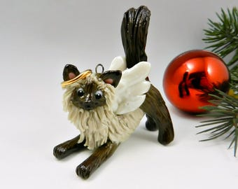 Angel Himalayan Persian Cat Christmas Ornament Figurine Memorial Porcelain
