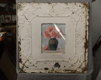 TIN CEILING White Picture Frame 8x10 Shabby Recycled chic 543-16