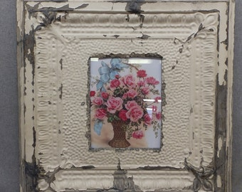 TIN CEILING Picture Frame Cream 8x10 Shabby Recycled chic 12-17