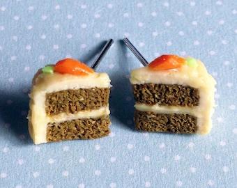 Handmade Carrot Cake Stud Earrings - Polymer Clay