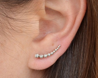 Solid 925 Sterling Silver Granulation Ear Climbers - Minimalist Jewelry - 2 Finish - Insurance Included