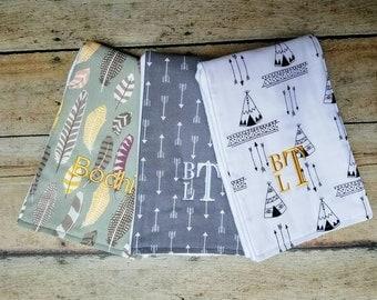 Modern Burp Cloth Baby Boy, Monogrammed Boy Burp Cloth, Set of 3,  Boy Burp Cloth, Feathers, Tee Pees, Arrows