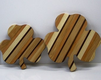 Shamrock Pair of Cutting Boards Handcrafted from Mixed Hardwoods