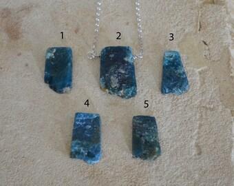 Natural Rough Blue Apatite Necklace