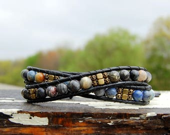 Agate and Brass Boho Wrap Bracelet