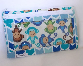 Monkey bag, wet dry bag, clear pocket pouch , diaper bag organizer, first aid bag, clutch, travel bag, cosmetic bag, double zipper pouch