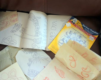Lots of vintage embroidery transfers; Various designs
