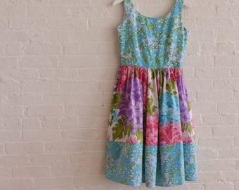 Spring Tea dress {blue blossom} size 4-6
